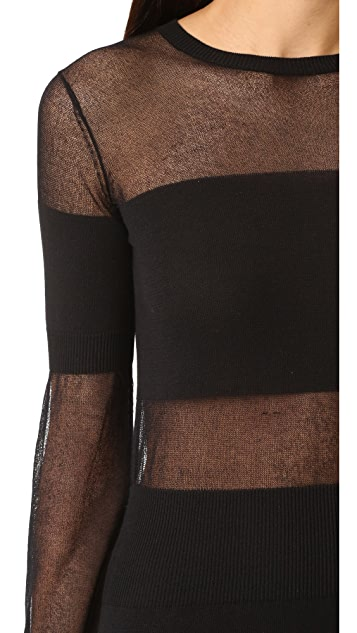 Intropia Long Sleeve Mesh Cutout Dress