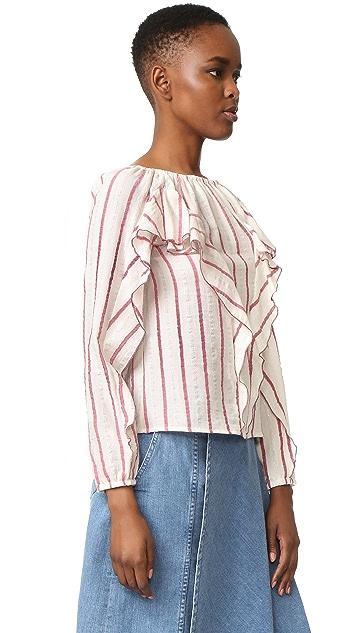 Intropia Striped Ruffle Blouse