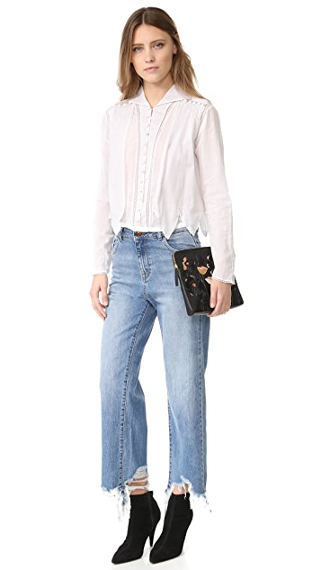 Intropia Eyelet Button Down Blouse