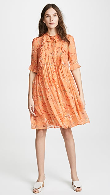 Intropia Floral Tie Neck Dress - Orange Print