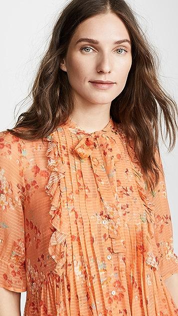 Intropia Floral Tie Neck Dress