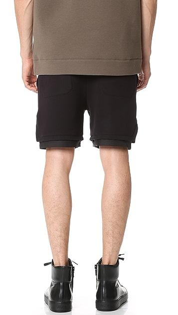 Helmut Lang Sponge Pique Angled Hem Track Shorts