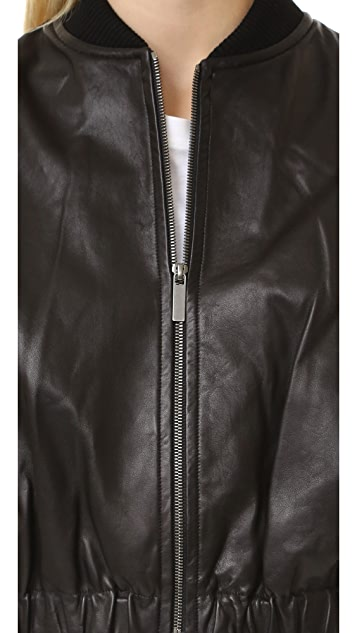 Helmut Lang Cropped Leather Bomber