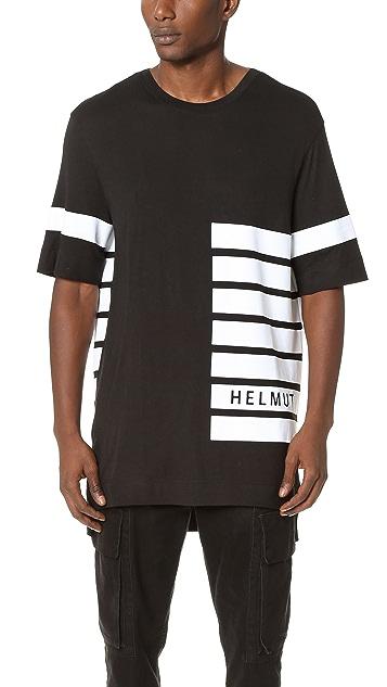 Helmut Lang Logo Stripe Print Jersey Oversized Tee