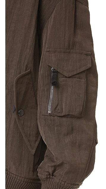Helmut Lang Detachable Faux Fur Bomber Jacket
