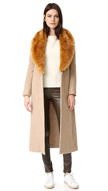 Helmut Lang Wool Coat with Faux Fur Collar