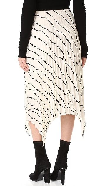 Helmut Lang Ribbon Print Pleated Skirt