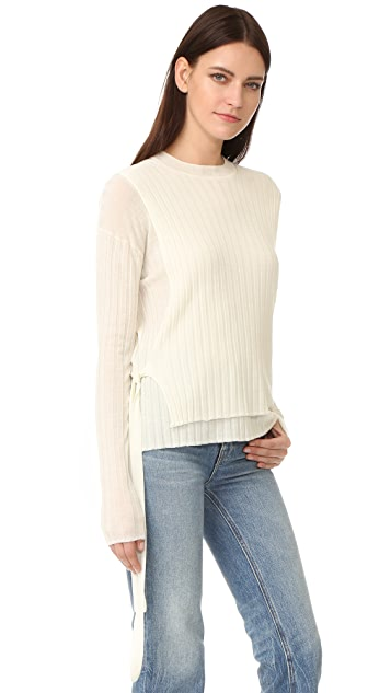 18ac556a3 Helmut Lang Merino Wool Tie Side Ribbed Sweater