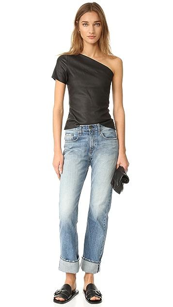 Helmut Lang Asymmetrical One Shoulder Leather Top