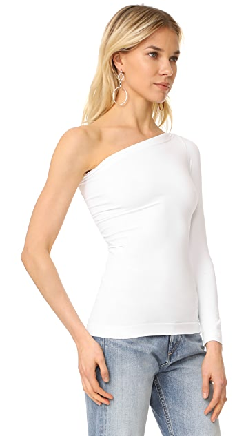 Helmut Lang Long Sleeve One Shoulder Top