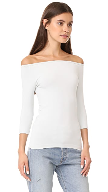Helmut Lang Off Shoulder Long Sleeve Tee