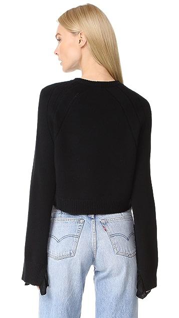 Helmut Lang Cropped Ruffle Sweater