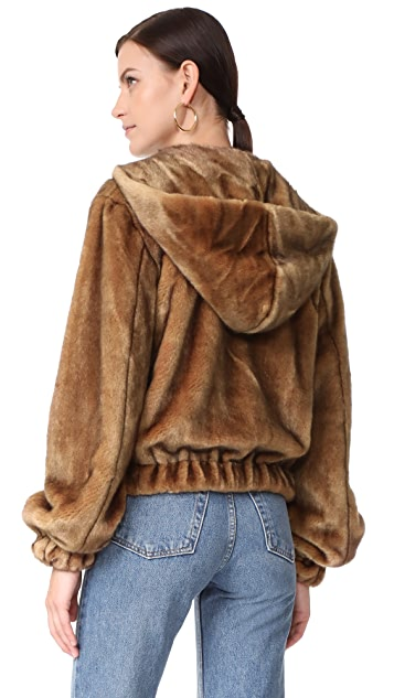 Helmut Lang Hooded Faux Mink Jacket