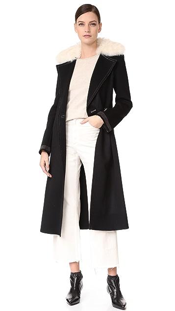 Helmut Lang Shearling Collar Coat