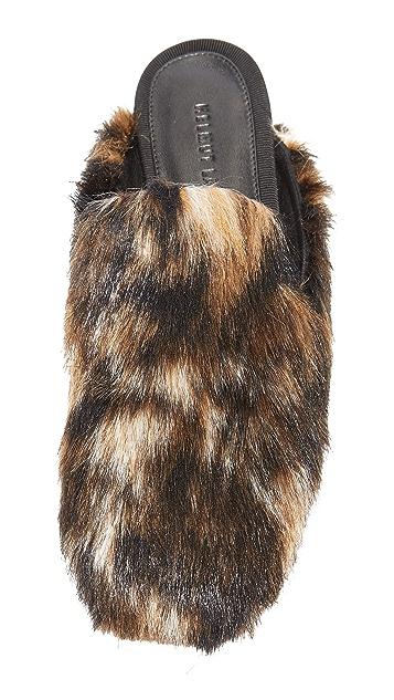 Helmut Lang Square Toe Fur Mules