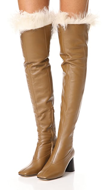 Helmut Lang Over the Knee Shearling Boots