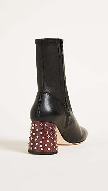 Helmut Lang Studded Heel Mid Calf Stretch Booties
