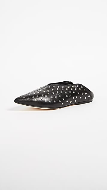 Helmut Lang Studded Point Convertible Flats - Black