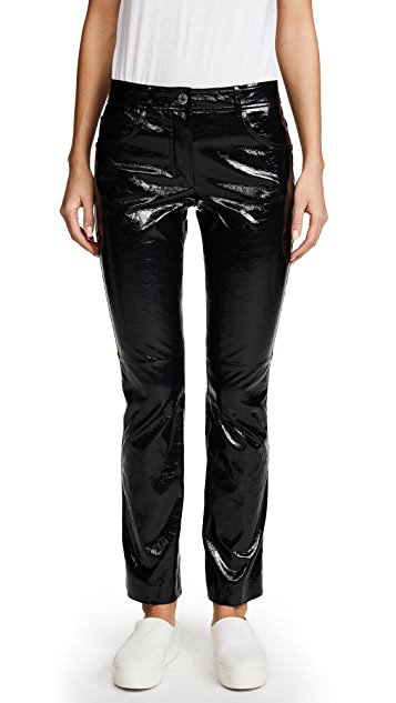 Helmut Lang Patent Cropped Flare Pants