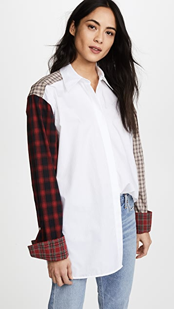 Helmut Lang Plaid Patchwork Shirt