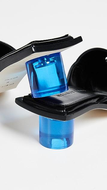 Helmut Lang Ice Blue Plexi Mid Heel Sandal
