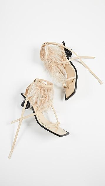 Helmut Lang Gladiator Feather Mid Heel Sandal