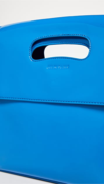 Mini Flap Bag in Ice Blue Patent Leather Helmut Lang LHRW3tMCg