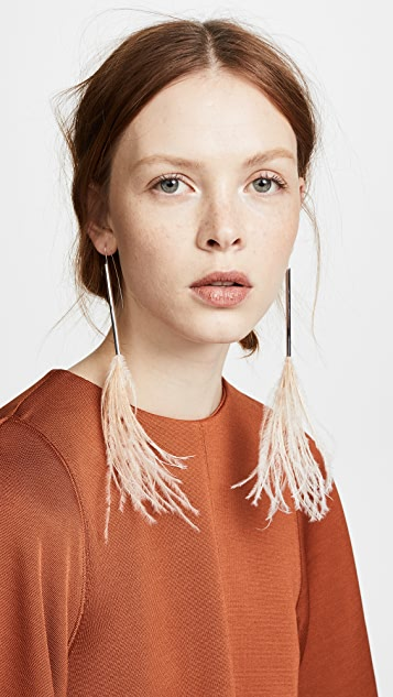 Helmut Lang Ostrich Feather Earrings