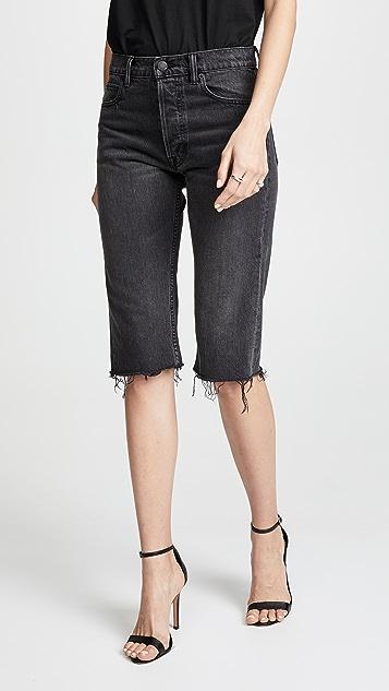 Helmut Lang Knee Length Cutoff Shorts - Black