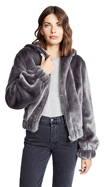 Helmut Lang Furry Hooded Bomber Jacket