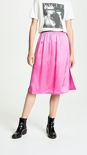 Helmut Lang Pull On Satin Skirt