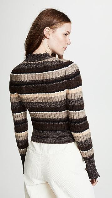 Helmut Lang Ombre Rib Shrunken Sweater