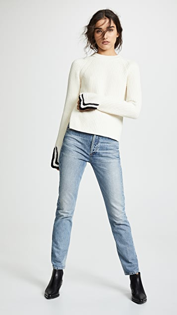 Helmut Lang Crochet Detail Crew Neck Sweater