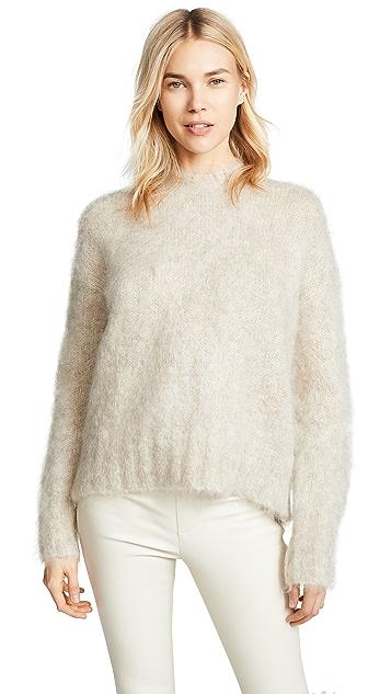 Helmut Lang Ворсованный пуловер с округлым вырезом