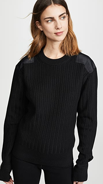 Helmut Lang Military Patch Crew Sweater - Black