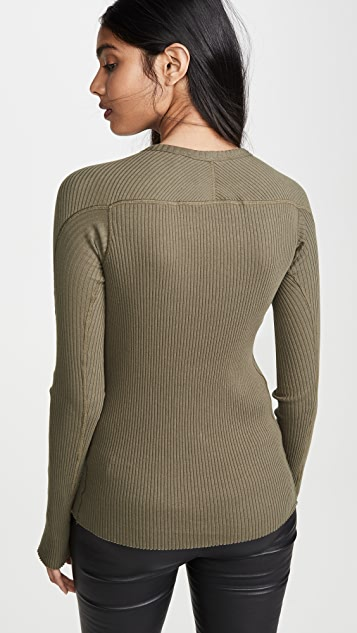 Helmut Lang Cotton Rib Crew Neck Top