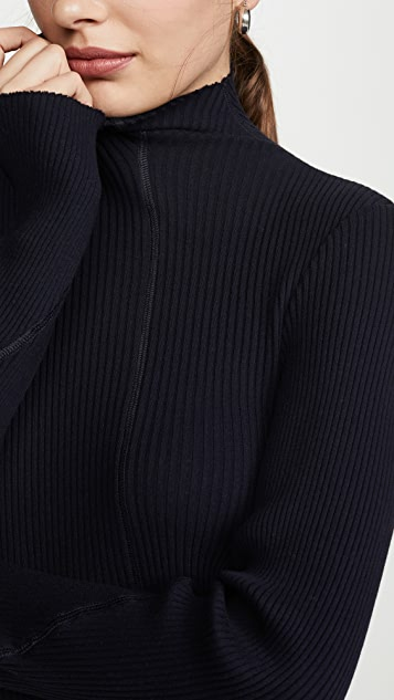 Helmut Lang Cotton Rib High Neck Dress