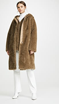 Detachable Linear Faux Fur Coat