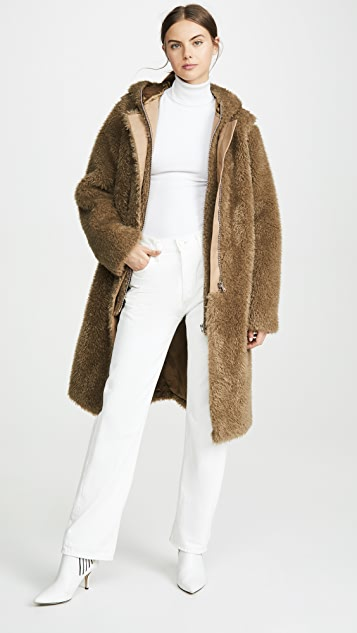Helmut Lang Detachable Linear Faux Fur Coat