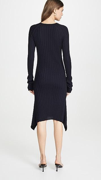 Helmut Lang Тонкое шерстяное платье в рубчик