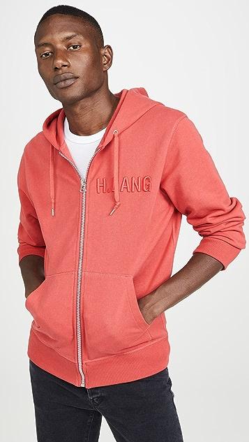 Helmut Lang Raised Embroidery Logo Standard Zip Hoodie