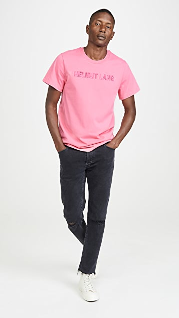 Helmut Lang Raised Embroidery Logo Standard Tee Shirt