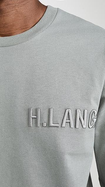 Helmut Lang Raised Embroidery Logo Standard Long Sleeve Tee Shirt