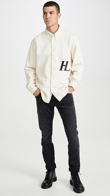 Helmut Lang Masc Logo Denim Button Down Shirt