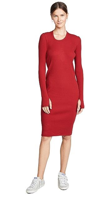 Helmut Lang Платье с длинными рукавами в рубчик
