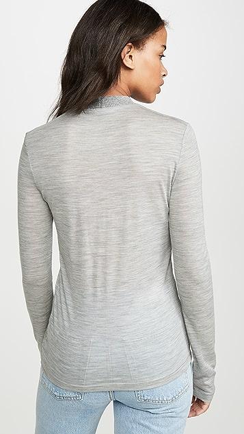 Helmut Lang Wool Jersey Mock Neck Pullover