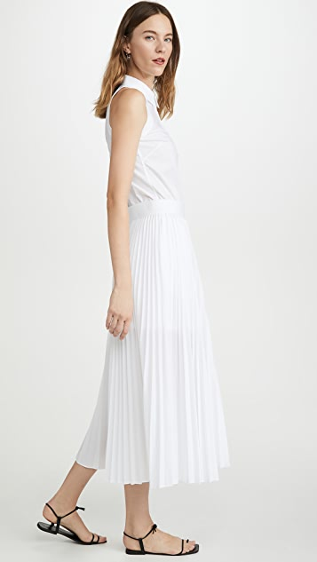 Helmut Lang 棉质褶皱连衣裙