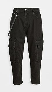 Helmut Lang Overdyed Slub Twill Cropped Cargo Pants