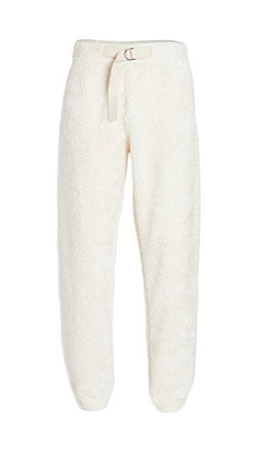 Helmut Lang Shaggy Fleece Belted Sweatpants
