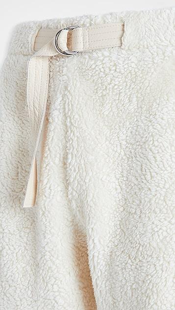 Helmut Lang Shaggy Fleece Belted Sweatpants